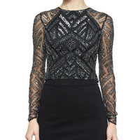 Varden Mesh-Sleeve Beaded Top, Black/Silver, Size: