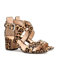 gianvito rossi - leopard-print calf hair sandals