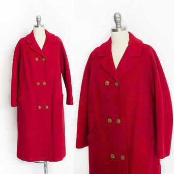 Vintage 1960s Coat - Red Wool Ribbed Rhinestone Button Double Breasted Mod - Medium / Large