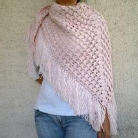 Sparkling Pink Triangle Shawl Hand crocheted by bysweetmom