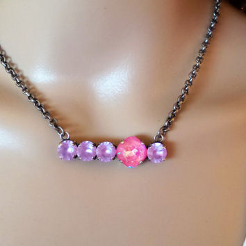HARD CANDY CHRISTMAS, swarovski necklace, mixed stones, lavender, pink, art deco, lever backs, dangles, drops, dksjewelrydesigns