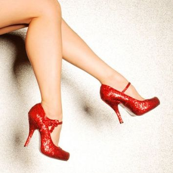 Ruby Red Glitter Heel Shoes - Shoes | Pinup Girl Clothing
