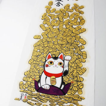 Japanese tenugui cotton fabric maneki neko lucky cat whith japanese money, kawaii fabric, japanese wrapping fabric, kimono yukata fabric