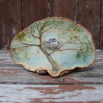 Vintage Painted Wood with Two Birds in Nest | Rustic Decor | Outdoor Art | Folk Art