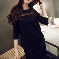 Boat Neck Semi Sheer Long Sleeve Shift Dress