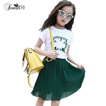 Children's Clothes New Tide Set Big Little Girl Summer 2018 White T-Shirt Green Pleated Skirts Embroidery Two-piece Casual Suits