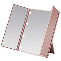 Led Lighted Tri-Fold Makeup Mirror Travel Mirror Compact Pocket Mirror