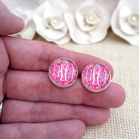 Lilly Pulitzer Inspired Monogram Earrings, First Impression Monogram Earrings, Silver Monogram Earrings, Monogram Stud Earrings