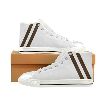 Women's Aquila Brown Stripes High Top Canvas Sneakers