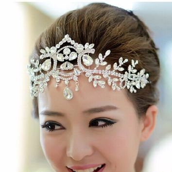 Silver Plated Crystal Latin Dance Hair Accessories Wedding Tiaras Hair Jewelry Bridal Forehead Head Piece Crystal Head Chain
