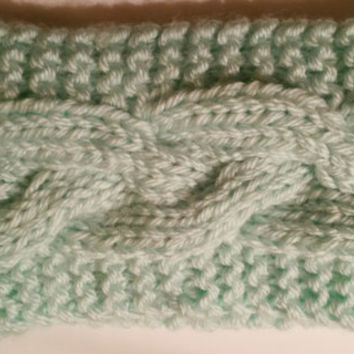 Knit Headband,Ear warmer in Mint, Soft and Warm, Cable Braid Pattern