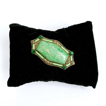 Art Deco Green Glass Brooch, Large Mottled Green Glass Cab, Emerald Rhinestones, Green Enamel Border, Gold Tone Metal, Vintage Gift for Her