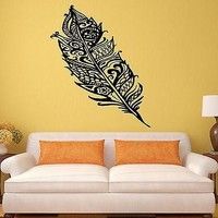 Wall Stickers Feather Bird Beautiful Room Art Mural Vinyl Decal Unique Gift (ig1993)