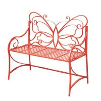 Midwest CBK Red Butterfly Garden Bench