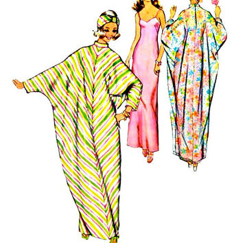 Slips Bias Float Caftans Turbans Pattern Pull Over Stretch Knits Only Vintage 70s Simplicity 5720 Sewing Patterns Uncut Size 12 14 Medium