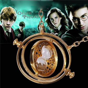 Harri Potter Necklace Voldemort's Horcrux Time Tumer Hourglass Sand Clock Necklace Cosplay Costume Cosplay Accessories Gifts