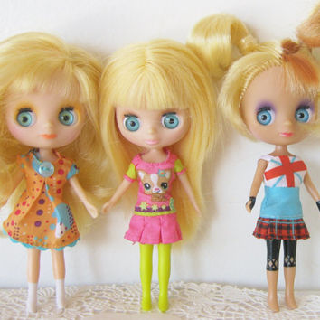 Mini Blythe Doll Lot Littlest Pet Shop Photo Prop Dressed Doll Models Altered Art Supplies
