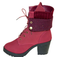 Burgundy Block Heel Fold Over Lace Up Bootie
