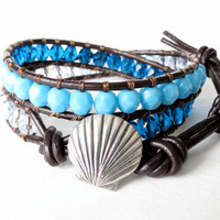 Hipster seashell Danforth artisan button leather wrap bracelet, nautical, ocean, marine, beach, capri blue, teal, cobalt blue