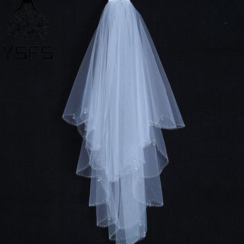 YSFS Two Layers White Ivory Short Bridal Veils Beaded Edge Bridal Wedding Veils With Comb Voile De Mariee Head Veils