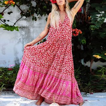 Drop Waist Style Red Print Maxi Dress Button Sleeveless Ruffle Neck Women Dresses Boho Beach Dress Vestidos