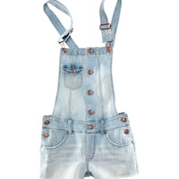 H&M - Bib Overall Shorts - Light denim blue - Ladies