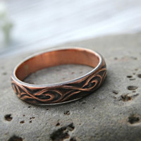 textured copper ring, copper wedding band, commitment ring copper, copper engagement ring, personalized mens ring copper, anniversary gift