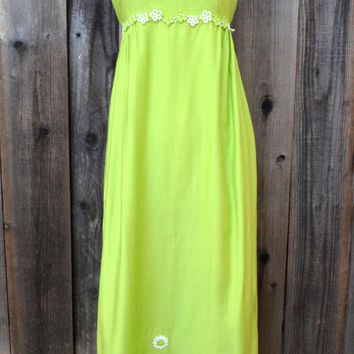 Vintage Lime Green Maxi Dress with Embroidered Floral Embellishments, Empire Waist, Hand Made, Spring Fashion, Size XS, circa 1960s