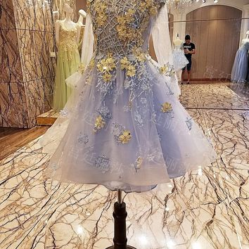 2018 Real Picture Ball Gown Homecoming Dresses Scoop Sheer Long Sleeve Appliques Mini Short Cocktail Dresses Party Gowns