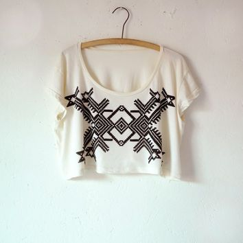 Supermarket - X, Geometric Design, Ivory Crop Top, Hand Screen Printed by Maryink from maryink