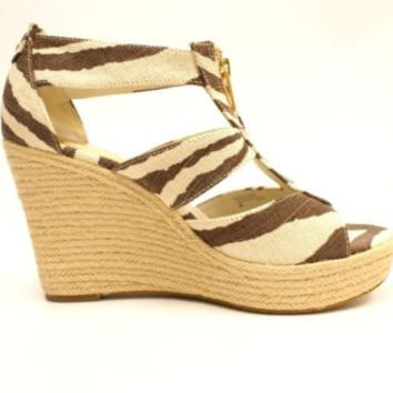 Michael Kors Damita Wedge Tiger Printed Canvas Wedge Zippered Sandals