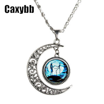 Caxybb 2016 New style Jewelry The nightmare before Christmas Necklace vintage Hollow the moon glass necklace free shipping N-M25