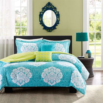 Twin Size Teal Blue Damask Comforter Set With Green Accents