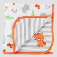 Baby Boys' Animals Velboa Blanket Orange/Grey OSZ - Just One You™ Made by Carter's®