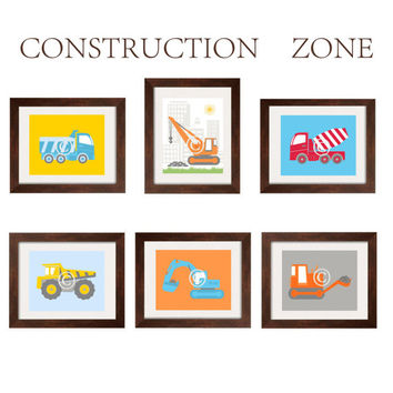 Construction Vehicles Nursery and Toddler Boy Art 6 prints for Construction Zone bedding 8X10 UNFRAMED by YassisPlace