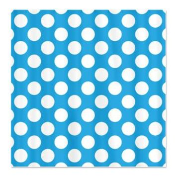 Large white polka dots on blue Shower Curtain> Polka Dotted Shower Curtains> Shower Curtains