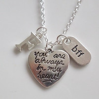 Initial Necklace, best friend necklace, youre always in my heart Necklace, Personalized Silver necklace Mother Daughter sister bff gift