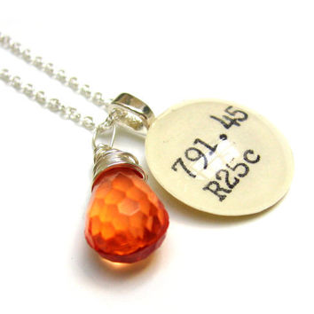 Faceted Tangerine Orange Acrylic Drop Dewey Decimal Vintage Card Catalog Sterling Silver Necklace