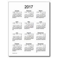 Black and White 2017 Mini Calendar by Janz Postcard