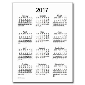 Black and White 2017 Mini Calendar by from Zazzle | 2017 Postcard