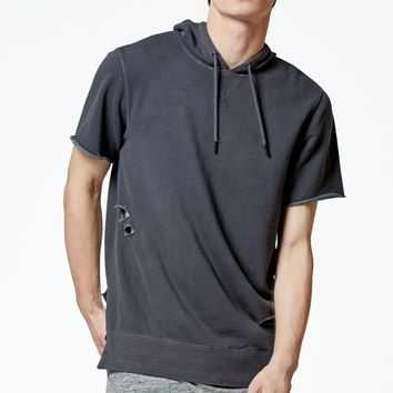 On The Byas Clad Short Sleeve Cutoff Hoodie - Mens Hoodies - Black