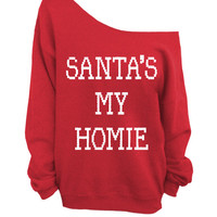Merry Christmas - Ugly Christmas Sweater - Red Slouchy Oversized CREW - Santa's My Homie