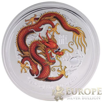 2012 10 Oz Ounce Silver Australian Year of the Dragon Coin Colorized 999 RARE