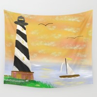 Sunset Lighthouse Wall Tapestry by Scott Hervieux