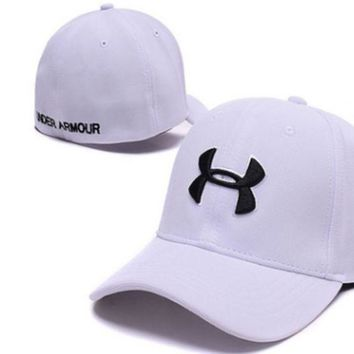 Trendy Under Armour Print Cotton Baseball Cap Hat White