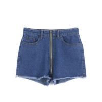 Denim Zipper Shorts