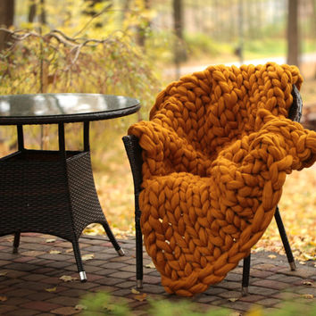 super merino blanket. merino wool blanket. chunky yarn blanket. Christmas gift for wife. extreme knit blanket.chunky merino throw