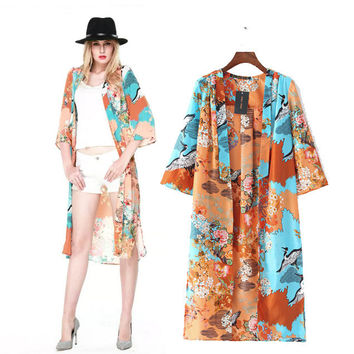Stylish Three-quarter Sleeve Print Chiffon Women's Fashion Tops Jacket [5013285380]