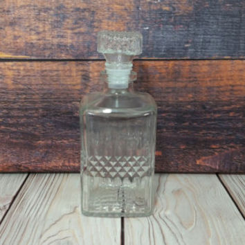 Vintage Square Clear Cut Glass Decanter