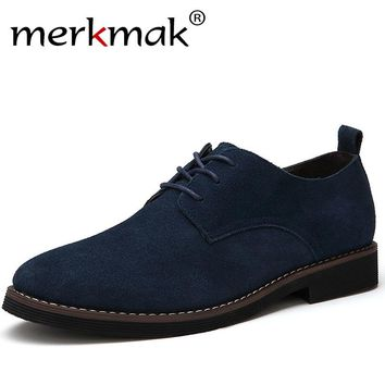 Men Casual Leather Shoes Oxfords Suede Leather Flats Shoes